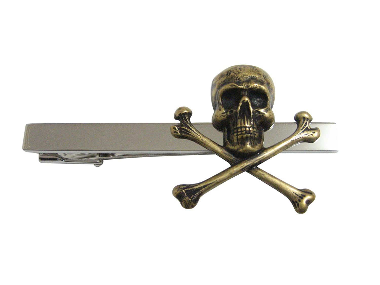 Bronze Toned Large Skull Pendant Square Tie Clip