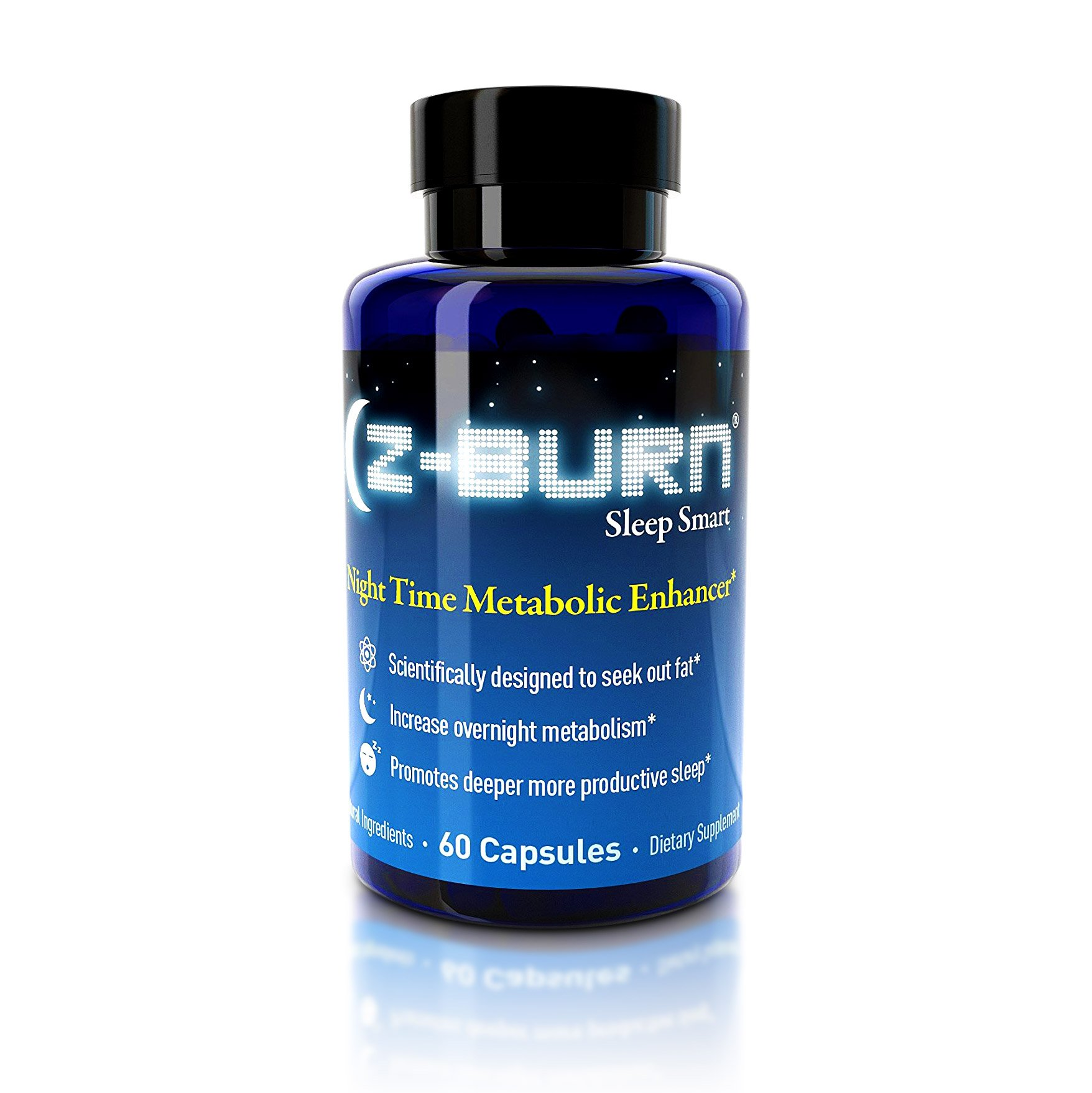 """Z-burn -- 60 Veggie Capsules -- Night Time Fat Loss Supplement - """"Sleep Great, Lose Weight!"""" Guaranteed Results - Made with 100% NON-GMO Natural and Organic Ingredients and Gluten Free"""