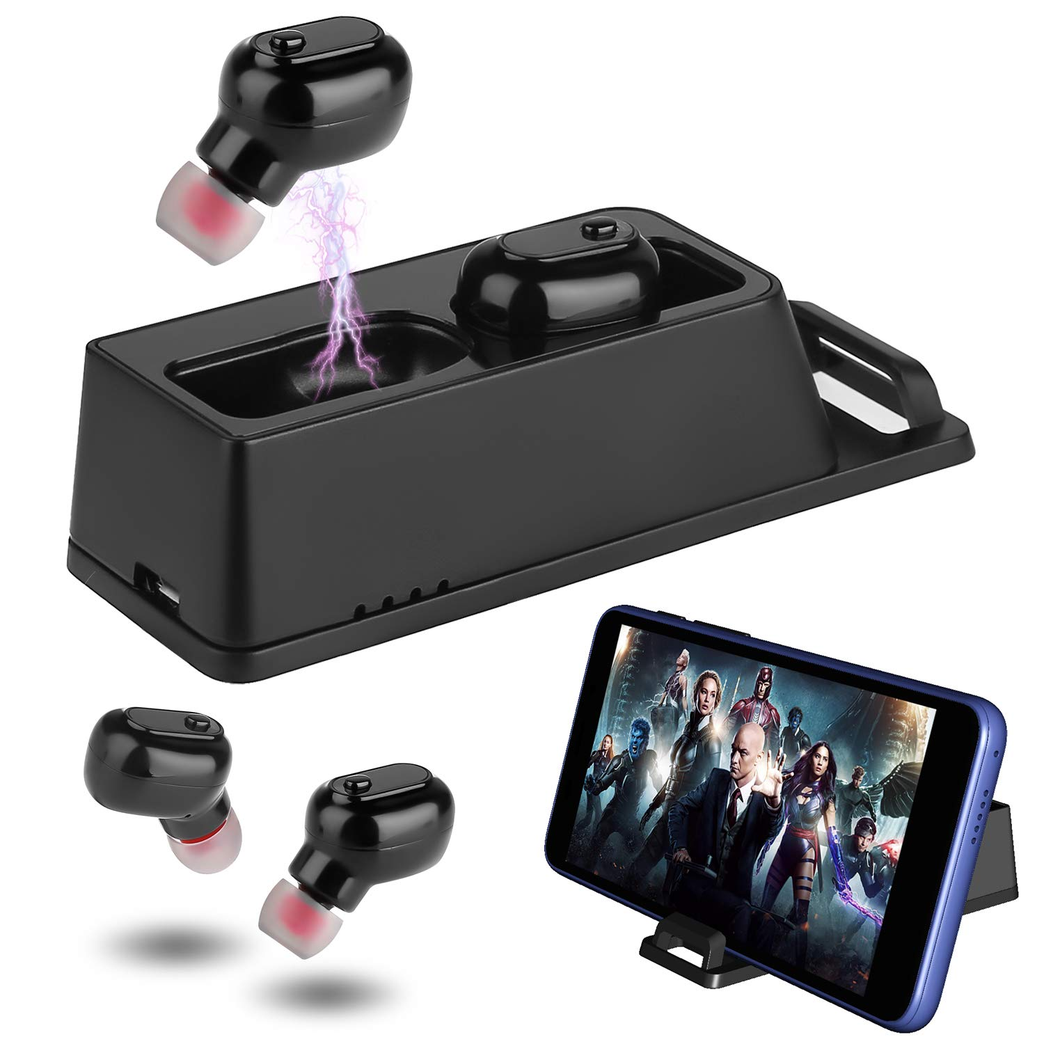 VANFINE 2 in 1 Bluetooth 5.0 TWS Earbuds Waterproof Wireless Headphones Phone Tablet Stand Wireless Charging Case Earphones Stereo Hi-Fi Sound in Mic Headset Premium Sound with Deep Bass for Sport