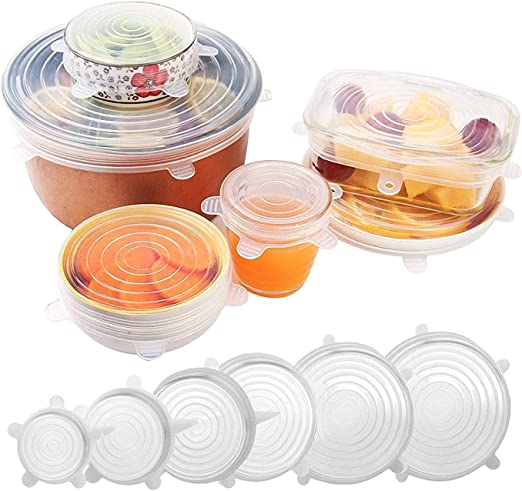 YOMYM 6 Pack Silicone Stretch Lids - Fits Various Sizes and Container Shapes - Expandable, Reusable, Durable, Non-Stick Storage Covers for Keeping Food Fresh - Silicone Spatula and Spoon Rest Included: Buy Online at Best Price in UAE - Amazon.ae