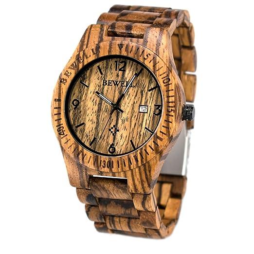 Reloj de Hombre con la Venda de Reloj de Madera de la Cebra, BEWELL W086B Reloj análogo de la Fecha de la Hora 12H Quratz para los Hombres: Amazon.es: ...