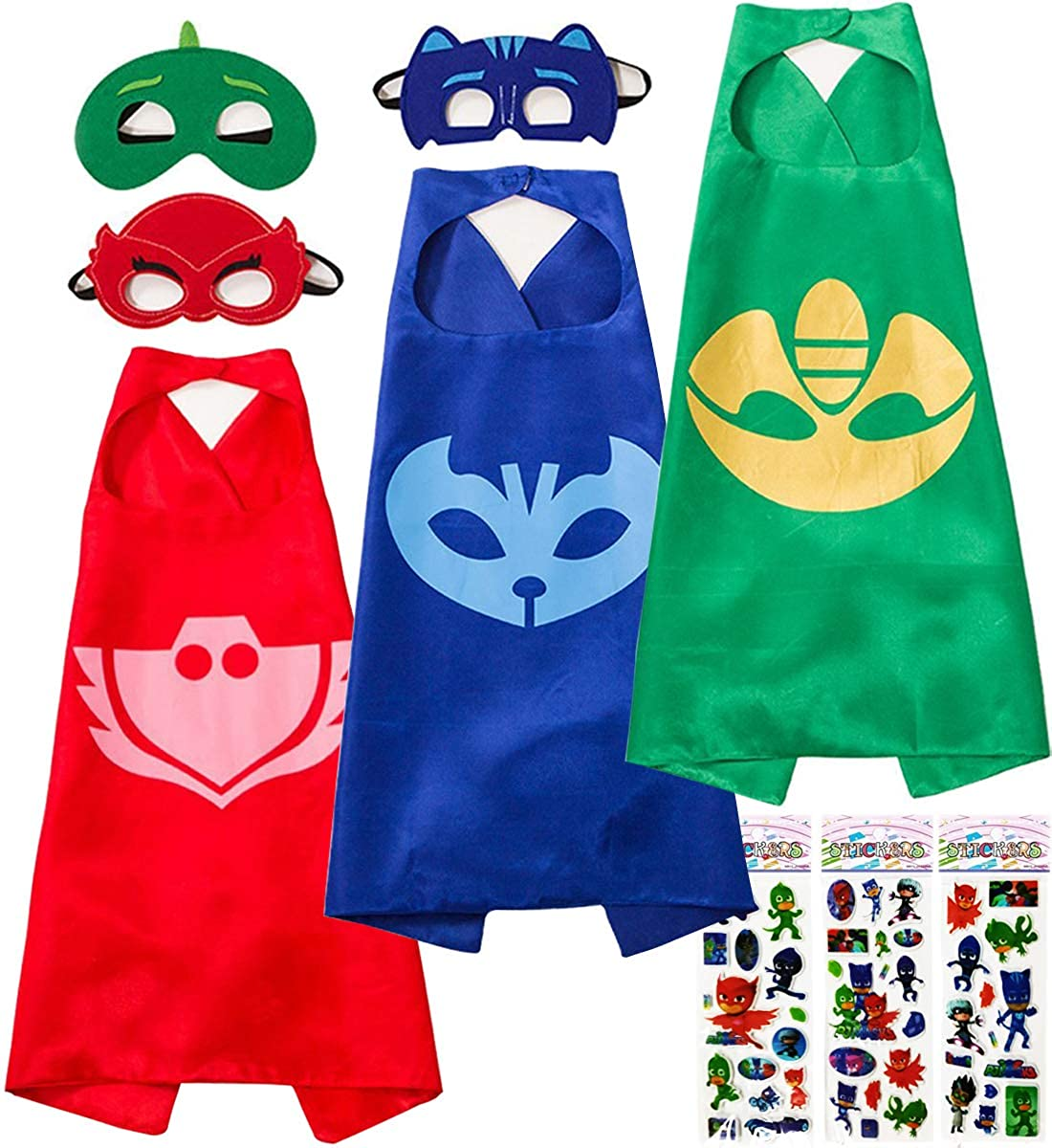 Creacty Catboy Owlette Gekko Costumes and Dress up for Kids, 3 Capes and 3 Masks - Superhero Party Supplies
