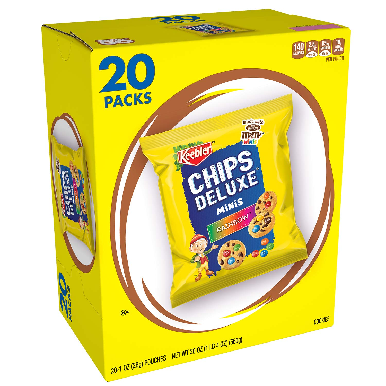 Keebler Chips Deluxe Minis Cookies, Rainbow with M&M's Mini Candies, Chocolate, 20 Ounce