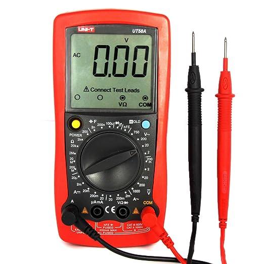 UNI-T UT58A Multímetro Digital Rango Automatico de Corriente Eléctrica Voltaje y Resistencia. Medición de Voltaje, Corriente, Resistencia, ...
