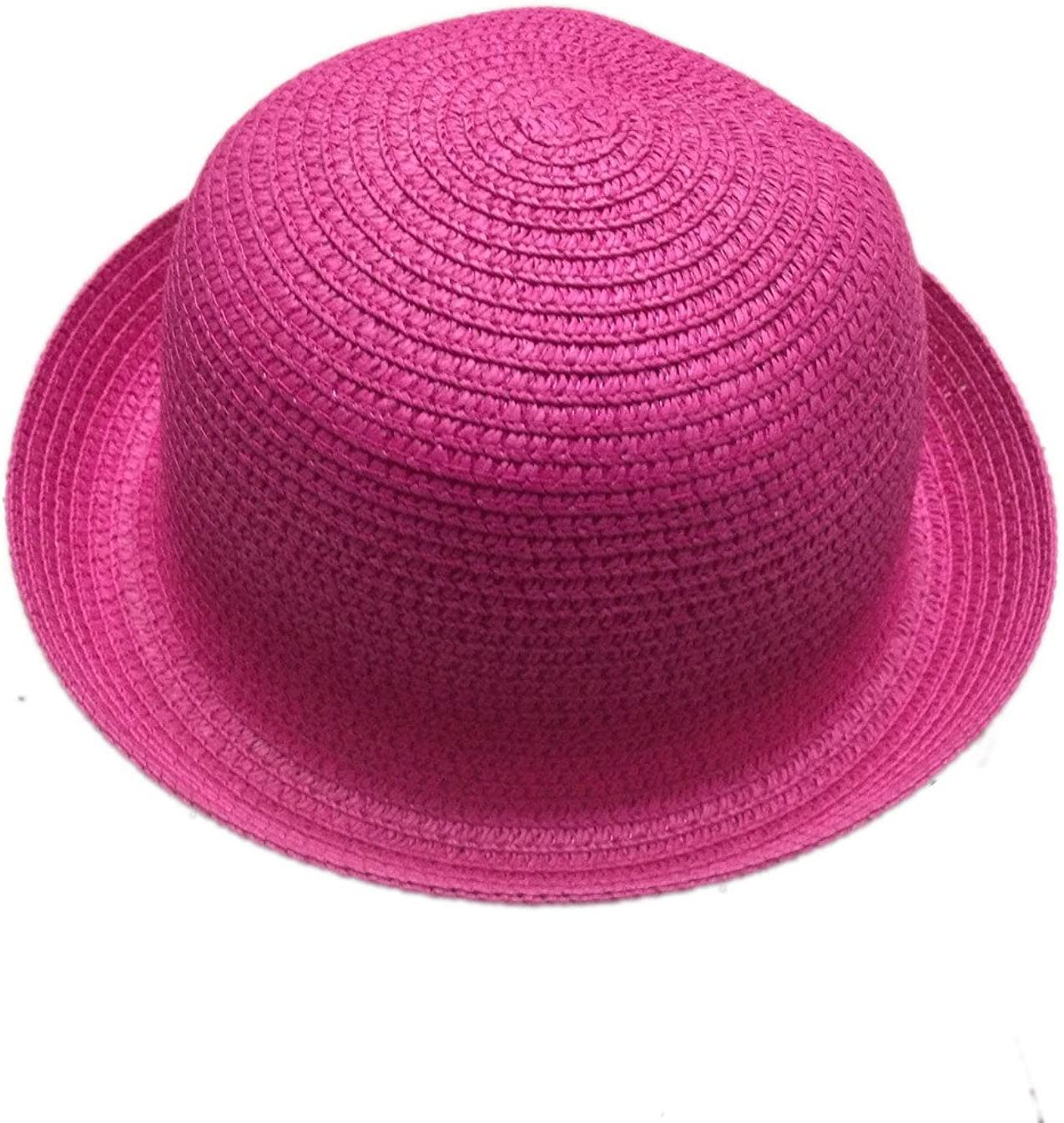 Jtc Child Girls Bowler Hat Caps Round Top Straw Hat Rose
