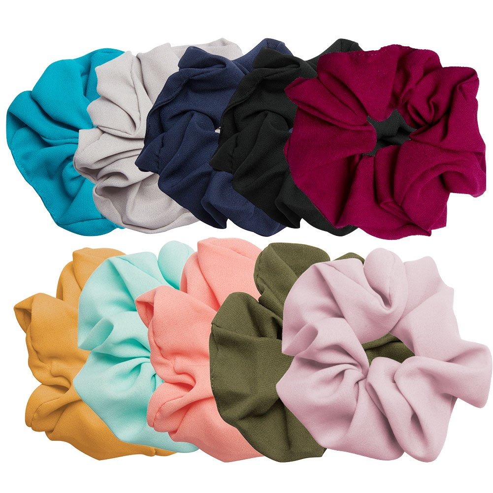AOPRIE 10 Pack Hair Scrunchies Linen Scrunchie Set Vintage Hair Bands Ties for Women Girls,10 colors
