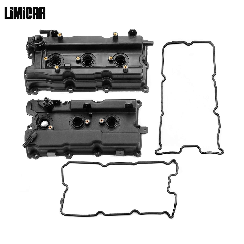 LIMICAR Valve Cover & Gasket HW8037 Left & Right Compatible with 02-06 Nissan Altima 02-04 Infiniti I35 02-03 Nissan Maxima 03-07 Nissan Murano 04-09 Nissan Quest 3.5L VQ35DE by LIMICAR