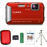 Panasonic Lumix DMC-FT30 Tough Compact Camera - Red + Case + 8GB Card + Multi Card Reader + Screen Protector and Tripod (16.1 MP, 4x Optical Zoom) 3.0 inch LCD