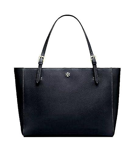 27c61121ff12 Tory Burch Emerson Large Buckle Tote Saffiano Leather Handbag 49125 (Black)