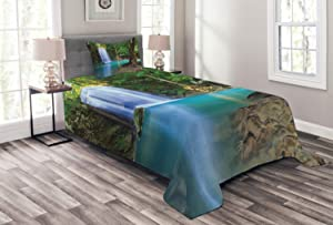 Ambesonne Woodland Bedspread, Waterfall Asia Thailand Jungle Tropic Plants Trees Tourist Attraction, Decorative Quilted 2 Piece Coverlet Set with Pillow Sham, Twin Size, Turquoise Green