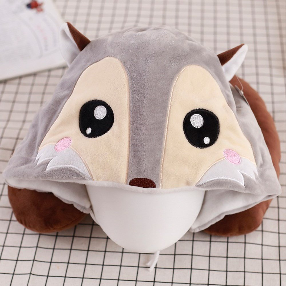 WDA Hooded Animal Travel Neck Pillow Plush Toy Gift,Perfect For Sleeping On Airplane With Comfortable Neck Support Pillows (fox)