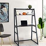 FurnitureR Escritorio para computadora con estantería para libros, escalera, mesa para computadora portátil, escritorio de es