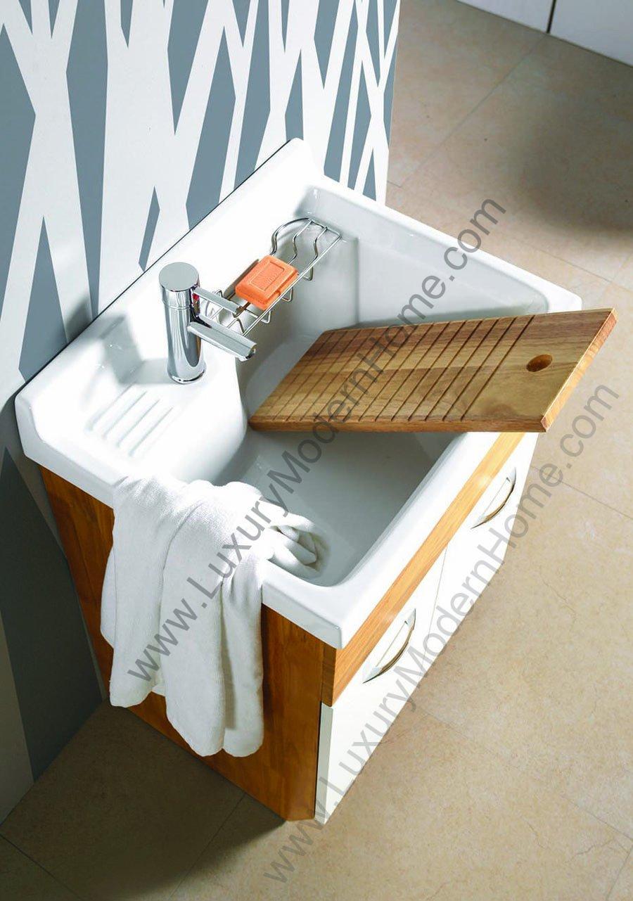 sink ALEXANDER 24'' OAK Utility Sink - OAK Modern Mop Slop Tub Deep Sink Ceramic Laundry Room Vanity Cabinet Contemporary Hardwood Hard wood by www.LuxuryModernHome.com (Image #4)