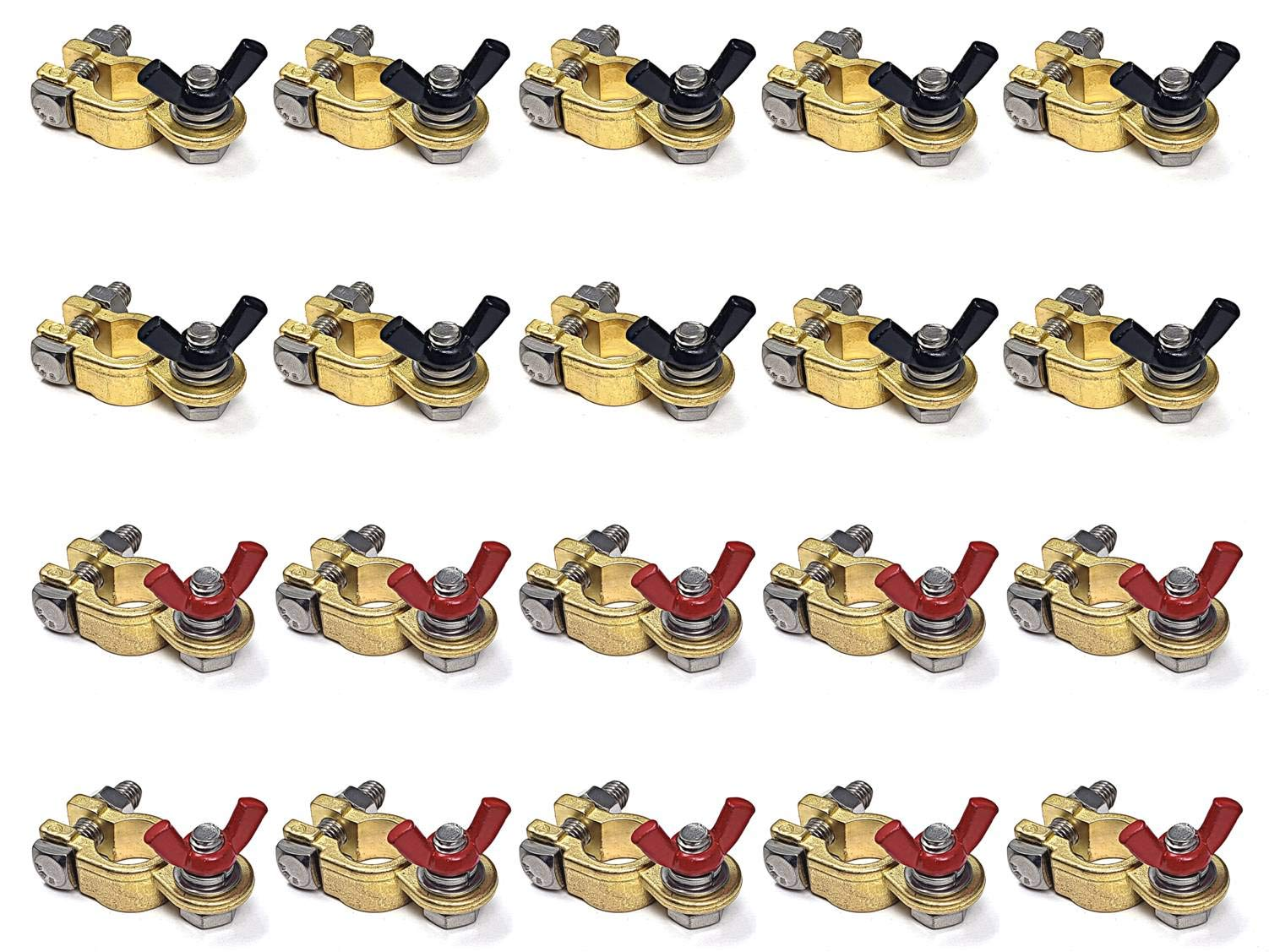 WindyNation 10 Pairs Brass Marine Grade Battery Terminal Top Post for Boat Car RV (Military Spec. B-12128C) by WindyNation
