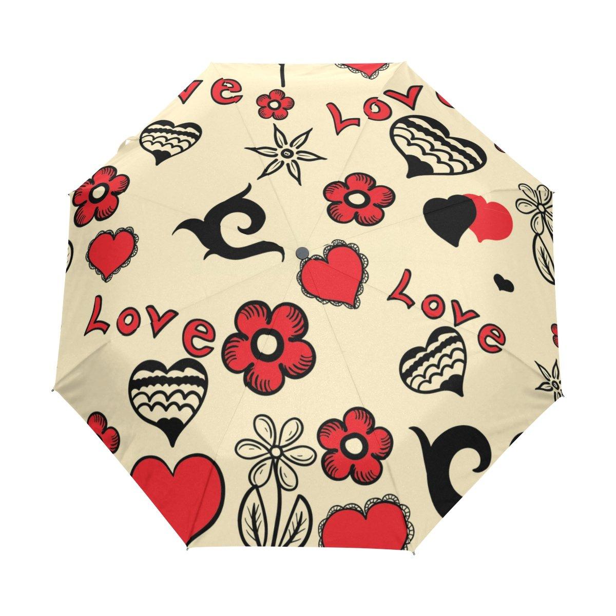 b60933c21bda 85%OFF Windproof Auto Open Close Umbrella Love Heart Flower Compact ...