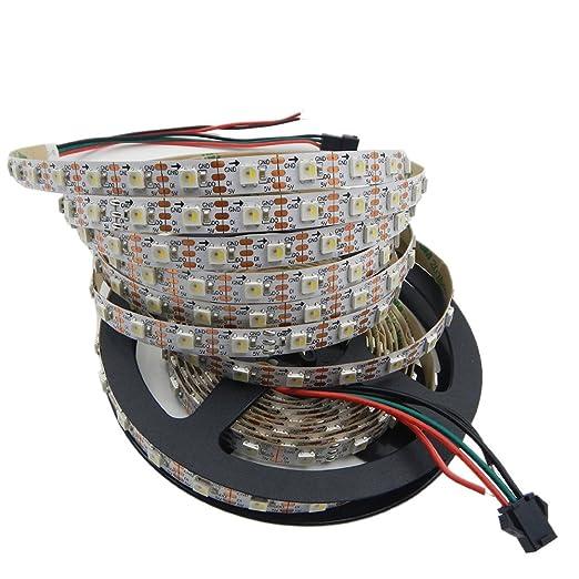 mengcore 16 4ft 5m addressable sk6812 rgbw led strip light 300 pixels 5050 rgbw led chip dc5v input non waterproof amazon co uk lighting