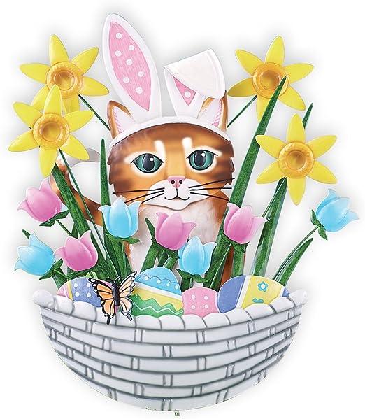 Gato en cesta de conejo de Pascua Primavera estaca de jardín ...