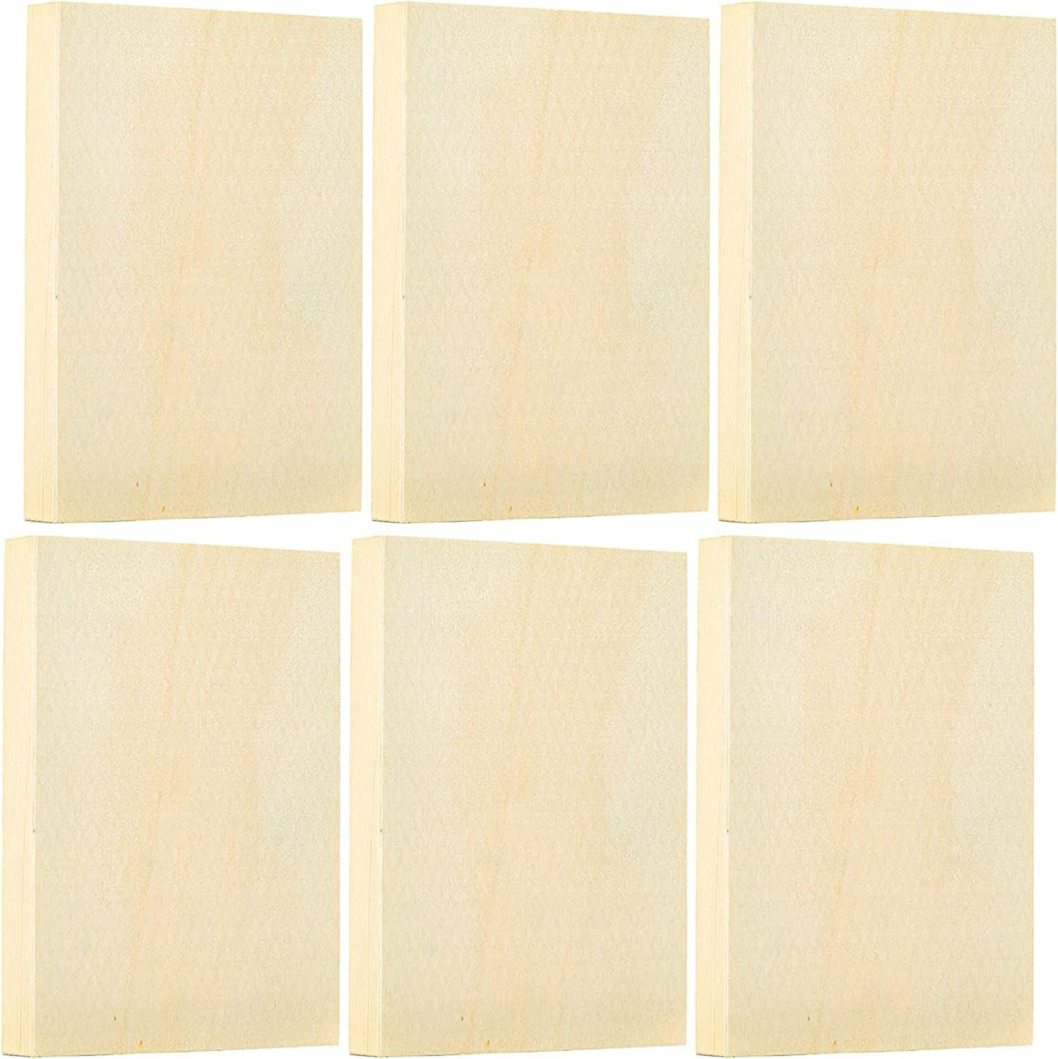 Unfinished Wood Paint Panel Boards (5 x 7 in, Rectangle, 6 Pack)