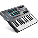 Donner DMK 25 MIDI Keyboard Controller Music Mini Key With 8 Backlit Drum Pads, 4 Knobs 4 control faders MIDI Controller BLAC