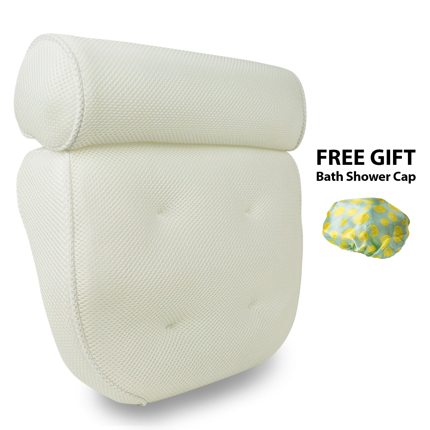 Happykoti Luxury Bath Pillow with FREE Shower Cap, Extra Large 6 Suction Cups, Non-Slip,Quick Drying, Fits any tub and is Anti-Bacterial Ltd