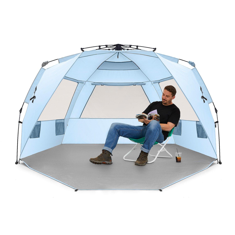 refugio para el sol con porche con cremallera incluido Tienda de playa para 4 personas Deluxe XL de Easthills Outdoor