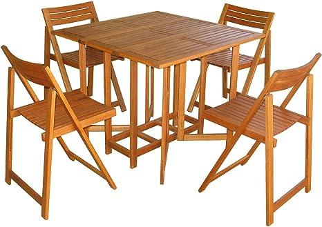 Milani Home S R L S Insula Set Tavolo Da Giardino Pieghevole Salvaspazio Completo Di 4 Sedie In Legno Massiccio Di Acacia Amazon It Giardino E Giardinaggio
