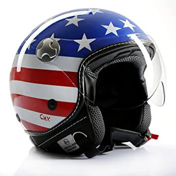 "Casco de Moto Jet Chopper Cafe Racer CMX ""Stars and Stripes"", con"