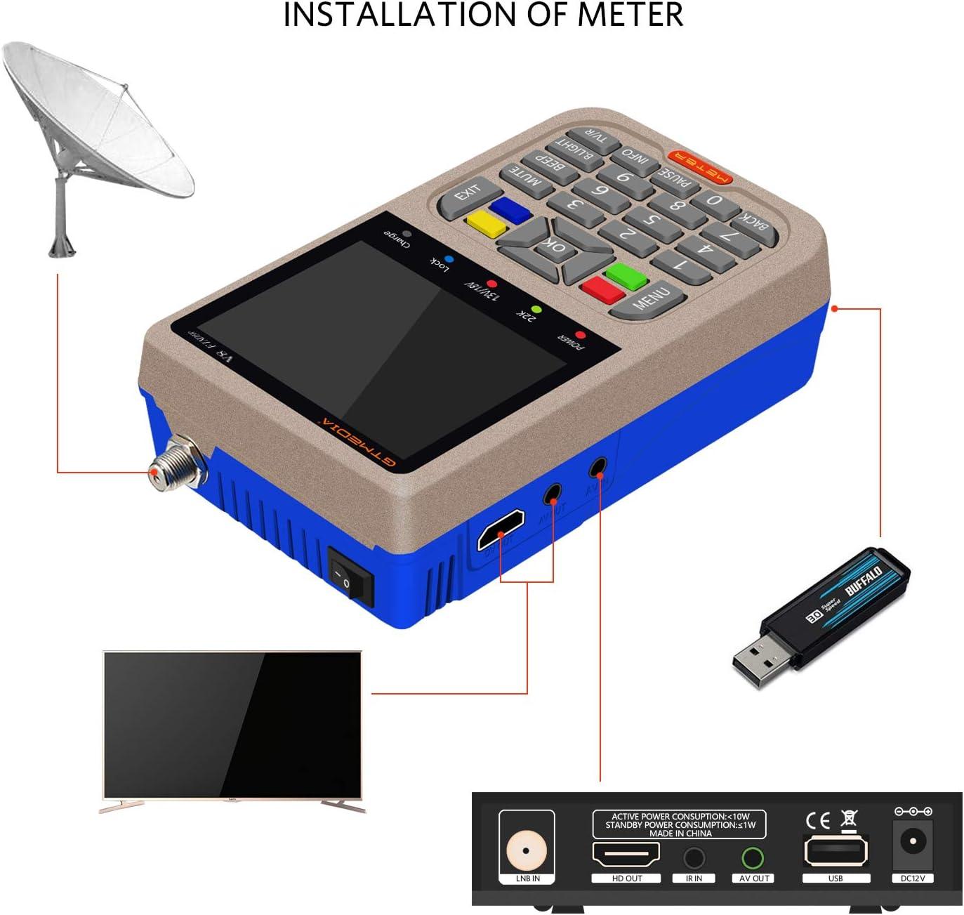 GTmedia V8 Satélite Finder DVB-S/DVB-S2 Localizador Buscador de Satélite FTA Satélite Receptor TV Digital HD 3.5