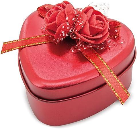 Estuche metálico rojo en forma corazón con flores de jabón perfumadas. Pack de 6 unidades: Amazon.es: Hogar