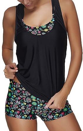 dd543b6436 Eudolah Women Tribal Printed Tankini Set Soft Elastic Swimsuits with  Boyshort Three Piece Bikini: Amazon.co.uk: Clothing