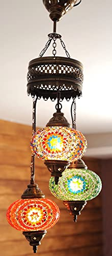 Handmade, Authentic, Mosaic Chandelier, Tiffany Style Glass, Moroccan Ottoman Style Night Lights Orange and Green, 3 Globes
