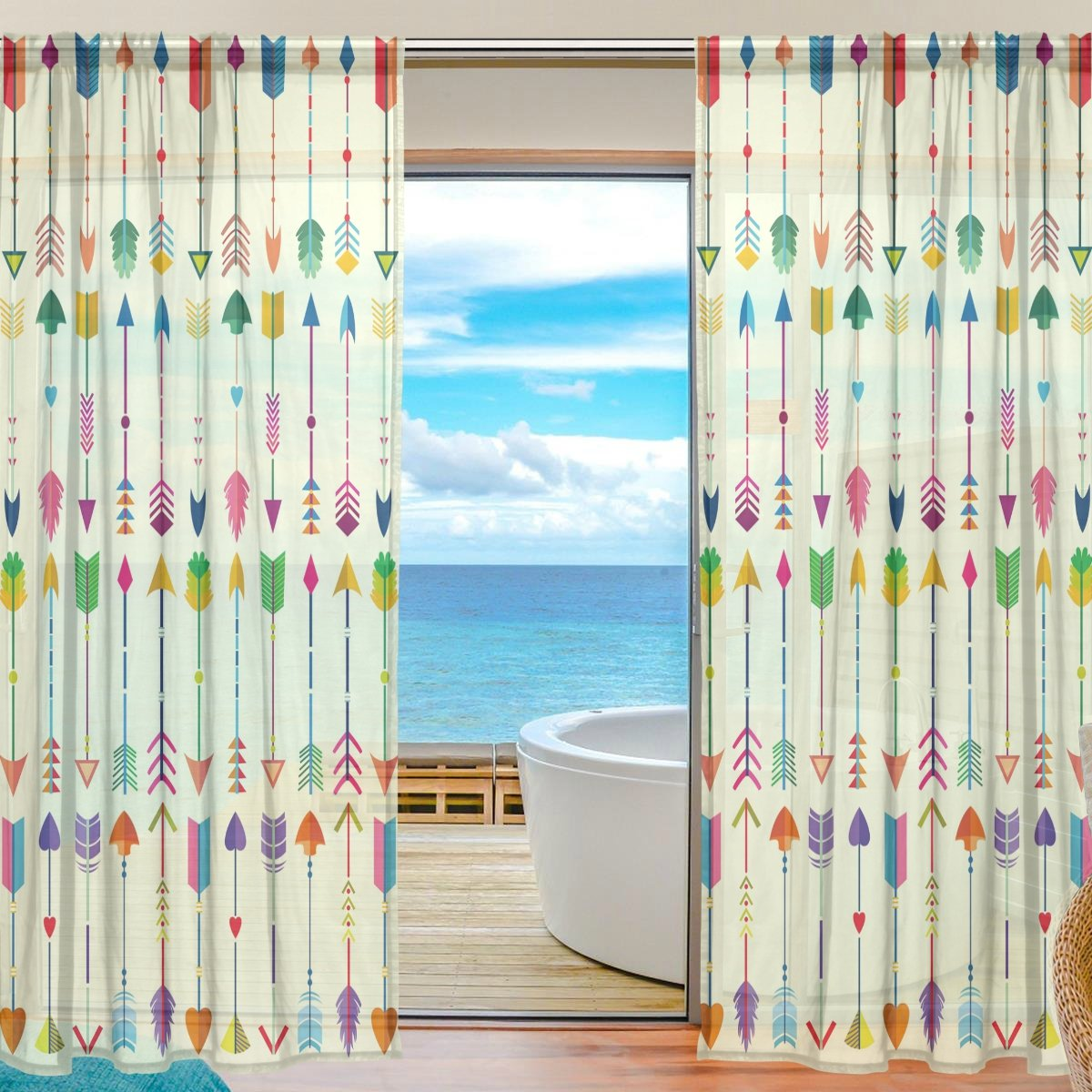 SEULIFE Window Sheer Curtain, Tribal Ethnic Feathers Arrow Pattern Voile Curtain Drapes for Door Kitchen Living Room Bedroom 55x78 inches 2 Panels