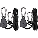 Roleadro Rope Ratchet Hanger Réglable Corde Crochet Pour Hydroponique Réflecteur(4.3ft) Pack of 2