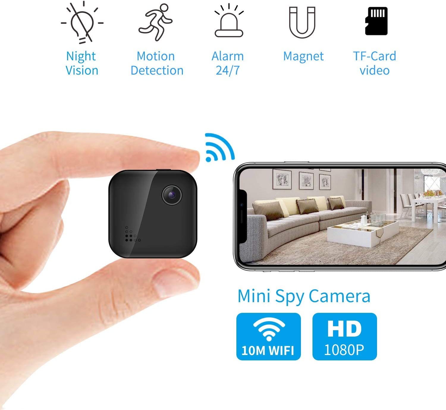 OUCAM Hidden Camera 1080P Mini Spy Camera WiFi Camera with Remote Viewing 380mAH Battery Wireless IP Camera for Baby Pet Nanny Cam with Real-Time Video Night Vision, Phone App with Andriod and iOS