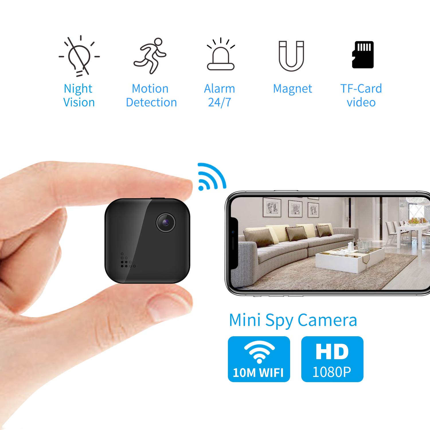 OUCAM Hidden Camera 1080P Mini Spy Camera WiFi Camera with Remote Viewing 380mAH Battery Wireless IP Camera for Baby/Pet/Nanny Cam with Real-Time Video Night Vision, Phone App with Andriod and iOS by OUCAM