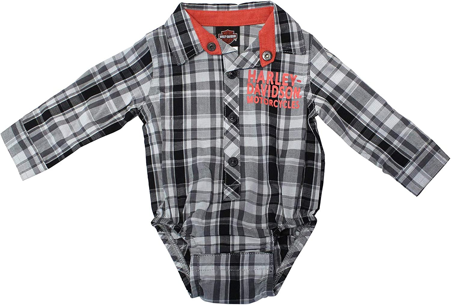Black 3050911 Harley-Davidson Baby Boys/' Interlock B/&S Footed Coveralls