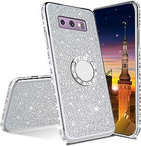 MRSTER Funda para Samsung Galaxy S7 Edge, Glitter Bling TPU Bumper Brillante Diamante Protector Case con Soporte Ring Kickstand de 360 Grados Carcasa para Samsung Galaxy S7 Edge. Silver
