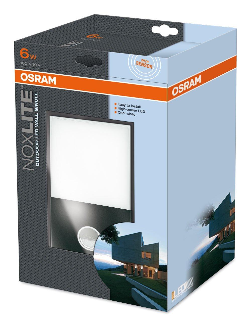 Osram 73282 Noxlite Wall - Lámpara de pared LED para exterior, con sensor de movimiento y claridad (2 bombillas, 6 W): Amazon.es: Hogar