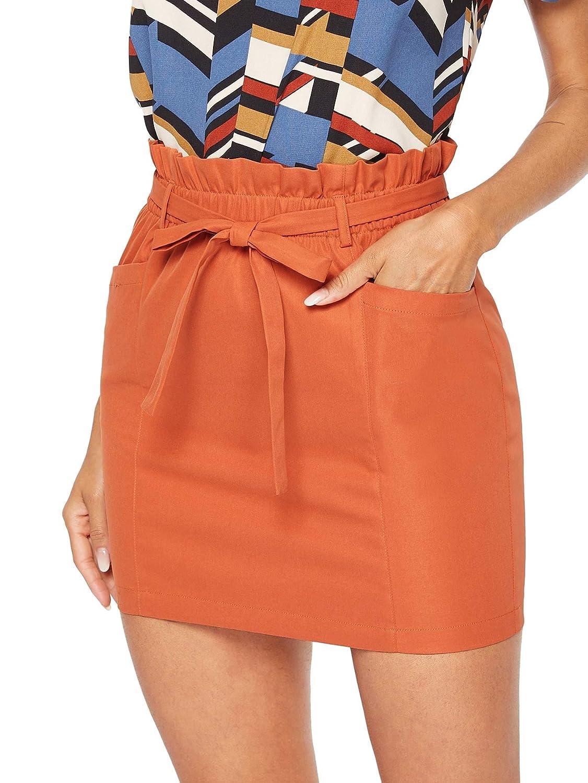 orange SheIn Women's Casual High Waist Frill Belted Double Pocket Bodycon Mini Short Skirt