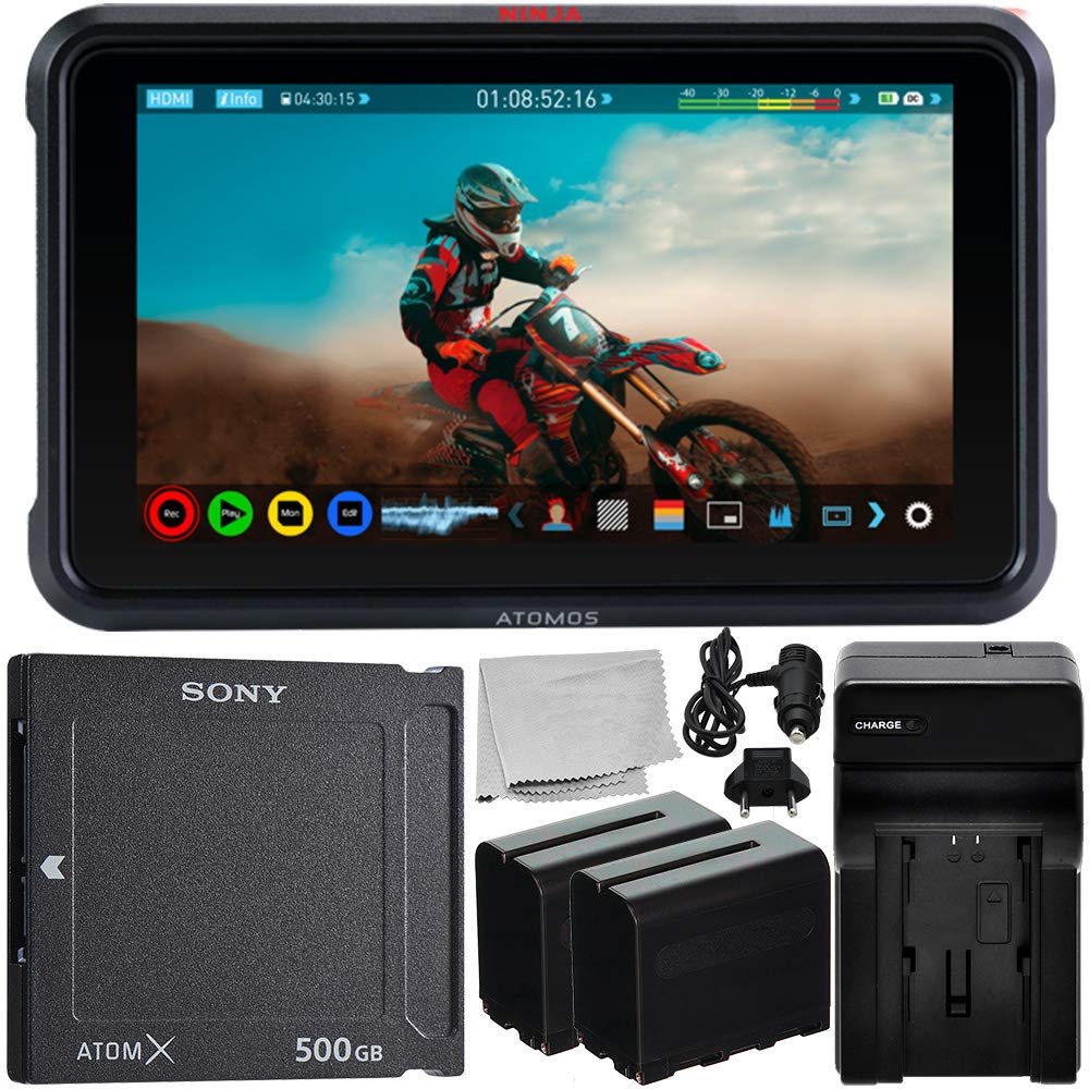 """Atomos Ninja V 5"""" 4K HDMI Recording Monitor with Sony AtomX SSDmini (500GB) Essential Bundle – Includes: 2X Rechargeable Lithium-Ion Battery + Battery Charger + Microfiber Cleaning Cloth"""