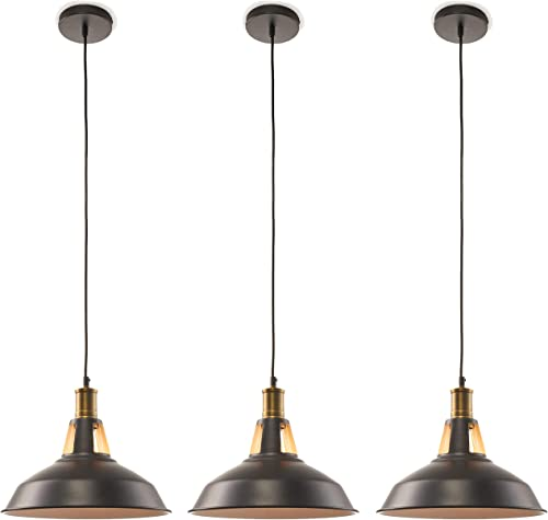 Large 12 inch Pendant Light Industrial 3 Pack
