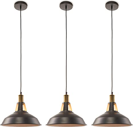 Amazon Com Large 12 Inch Pendant Light Industrial 3 Pack Hanging Over Island Ceiling Kitchen Lighting Pendants Black And Gold Modern Farmhouse Style Fixture Bronze Style Lamp E26 Bulb Home Improvement