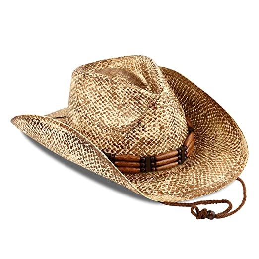 c999df0b23bc02 Men & Women's Cowboy Straw Hat Pinched Front Brim Wood Bead Conch ...
