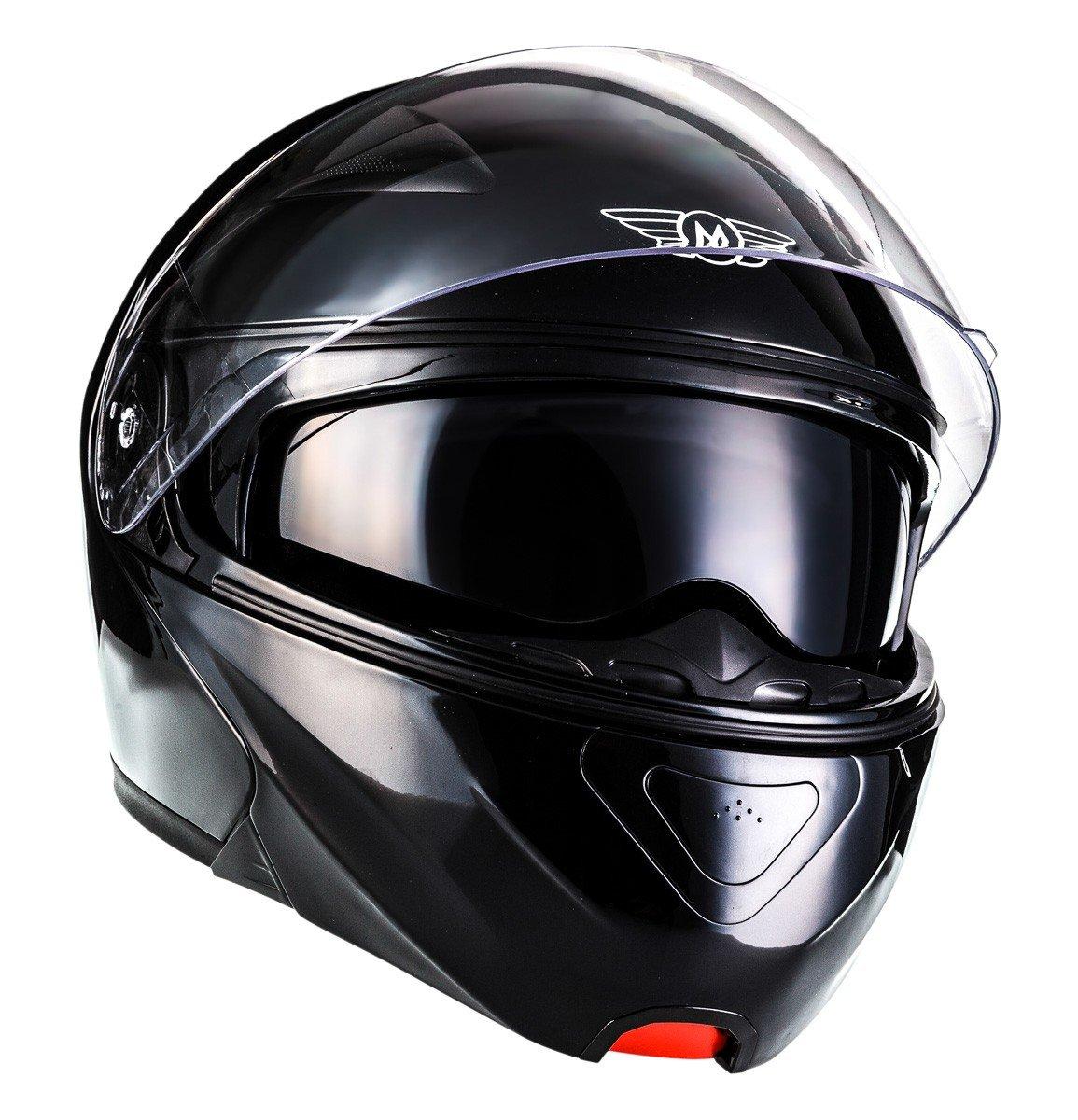 MOTO HELMETS/® F19 Gloss Black /· Motorrad-Helm Klapp-Helm Modular-Helm Flip-up Integral-Helm Motorrad-Helm Roller-Helm Full-Face Cruiser /· ECE Sonnenvisier Schnellverschluss bolsillo XS-XL 53-62 cm