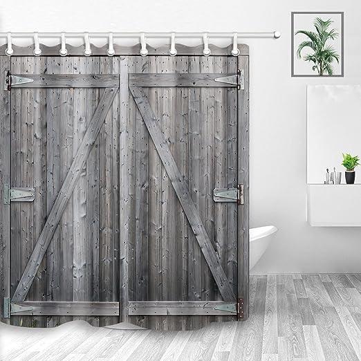 Waterproof Fabric Rustic Wood Shower Curtain Liner Bathroom Accessories Hooks