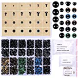 348 Pcs 6-20mm Black Plastic Safety Eyes Colorful Plastic Safety Eyes Craft Eyes and Safety Noses with Washers for Doll, Puppet, Plush Animal