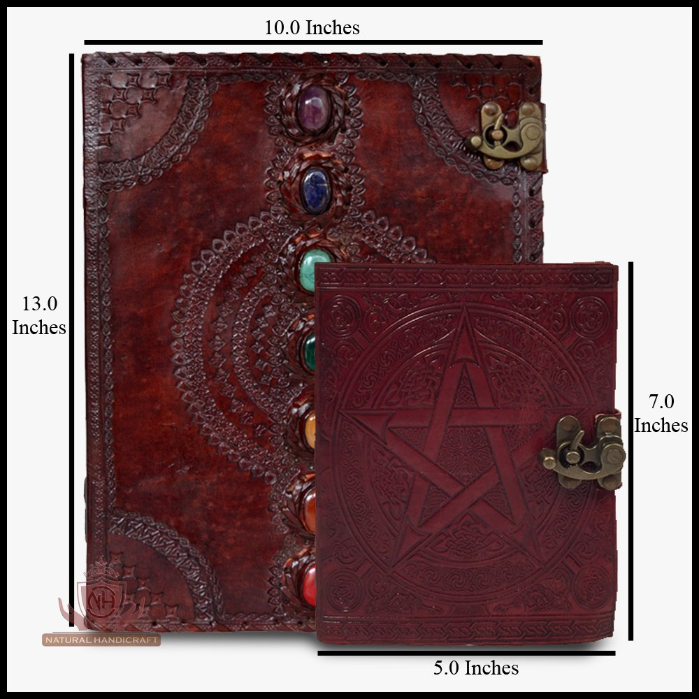 Seven Chakra Medieval Stone Leather Journal Notebook with Pentagram Wicca Pagan Pentacle Handbook Embossed Handmade Book of Shadows Notebook Office Diary College Book Poetry Book Sketch Book