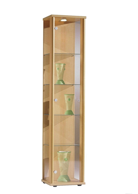 4 Glasb/öden ESG Buche Dekor 176x37x33 cm 1trg BR-Wohndesign Glasvitrine Sammlervitrine Vitrine LED beleuchtet incl