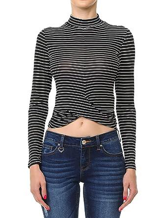 2cb712cf1e Instar Mode Women s Striped Twist-Front Hem Mock Neck Long Sleeve Crop Top  Black