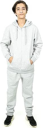 NOROZE Conjunto completo de chándal de forro polar para niños y niñas, con capucha, parte inferior